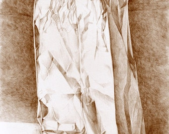 "ART DRAWING, ""Brown Paper Bag 2"" sepia pencil drawing, kitchen art, still life"
