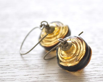 Gold Earrings, Striped Earrings, Hollow Earrings, Glass Bead Earrings, Lampwork Glass Earrings, Light Weight Earrings