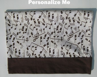 Customizable Beige Flannel Pillowcase with Music Symbols Great for a Musician or Music Teacher