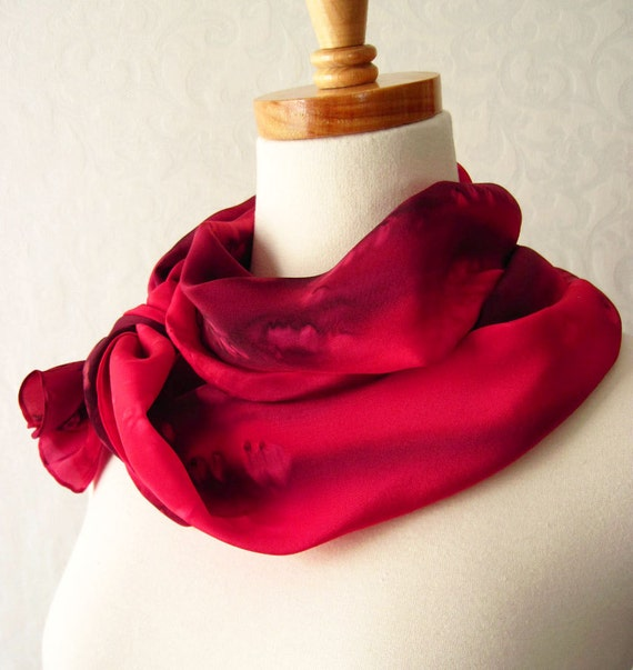 Hand Dyed Silk Crepe Scarf in Deep Reds
