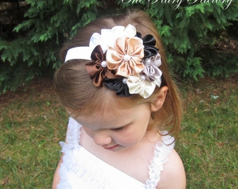 Satin Flower Headband, Gold Black Brown Silver Ivory Flowers w/ Pearls Stretchy Headband or Clip, The Grace, Infant Baby Toddler Child Girls