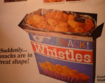 Vintage Ad - Whistles Corn Snacks -  1960s Original ad - Snack Food of the 1960s