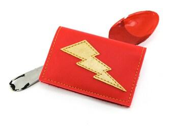 Red Gold Lightning Bolt Mini Wallet - Spoon up a fresh wallet