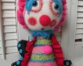 Cuddlebug a Whimsical Art Doll - collectable art collection toy kid sculpture colorful mixed media art folk art fantasy anthromophoric