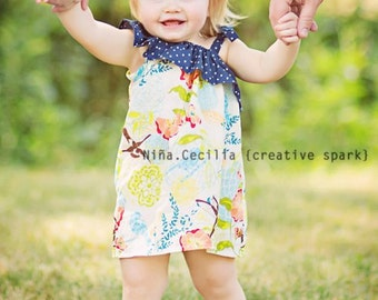 RETIREMENT SALE - Ruffled One Shoulder Hummingbird Dress - Baby Toddler Girl Designer Cotton Dress - Perfect for Summer