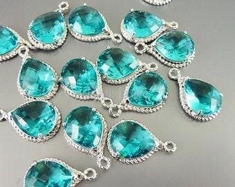 2 Sea green glass stone pendants with silver rope rim / bridal wedding jewelry jewellery 5054R-SG (bright silver, sea green, 2 pieces)