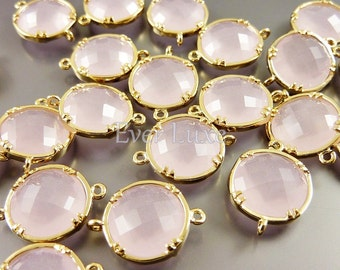2 pink ice 12mm glass connectors, light pink faceted round glass connectors, supplies 5014G-PI-12 (bright gold, pink ice, 12mm, 2 pieces)