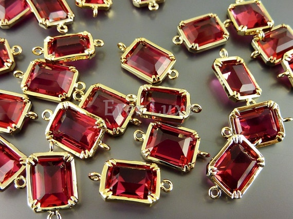 2 Geometric rectangle garnet red glass connectors, links for bracelet charms, necklace pendant 5035G-GA (bright gold, garnet, 2 pieces)