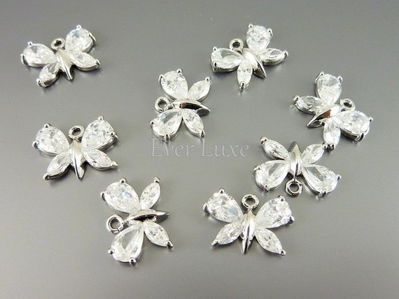 2 Clear cz butterfly charms / small cubic zirconia butterfly pendants for dangle earrings necklaces 5077R-CL-S (bright silver, S, 2 pieces)