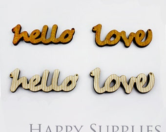 2Pcs Large Handmade Lovely Hello or Love Charms / Pendants (LC010)