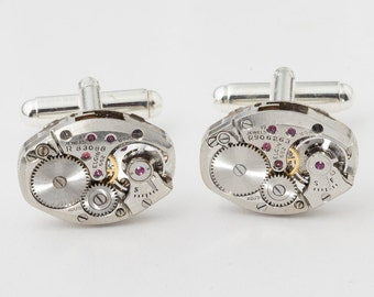 Steampunk Cufflinks Vintage Elgin watch movements wedding anniversary formal Grooms gift silver cuff links men jewelry Steampunk Nation 2711
