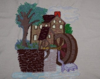 Vintage Needle Punch~Finished Needlework~Down By The Old Watermill~Wool Needlework