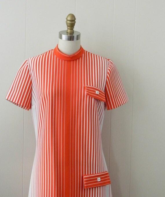 60s Mod Striped Secretary Dress ... A Fashionmaker Original .... Size Medium