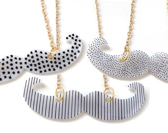 Moustache necklace - Spotty, Stripes or Stars Pattern - donation to Dr Hadwen Trust Charity