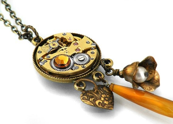 Steampunk Necklace, Golden Matte Brass Antique Pocket Watch Mechanism - Long Chain Necklace