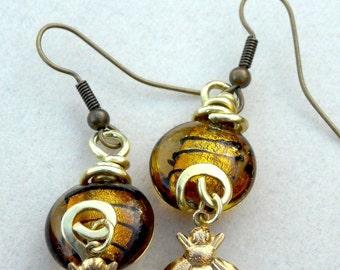 Honey Drop Queen Bee Earrings Brass Honey Bee, Lampworked Honey Colored Beads