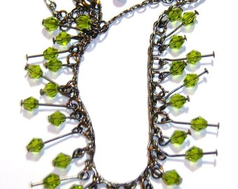 vintage dangle green bicones with brass chain necklace