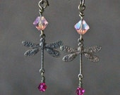 """Earrings Dangle Brass and Crystal: """"Dragonfly Steeds"""" RETIRES Midnight 6/24/13"""
