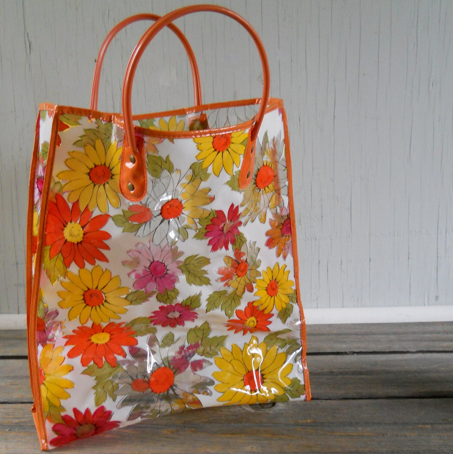 Vintage Clear Plastic And Floral Tote