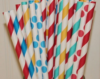 Paper Straws,25 CARNIVAL Party Paper Straws,Circus Paper Straws, Retro, Vintage, Drinking Straws, Party, Kid Birthday, Mason Jar Sipper