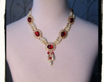 Ruby Red Beauty Tudor Game of Thrones Pearl Necklace Renaissance |Medieval