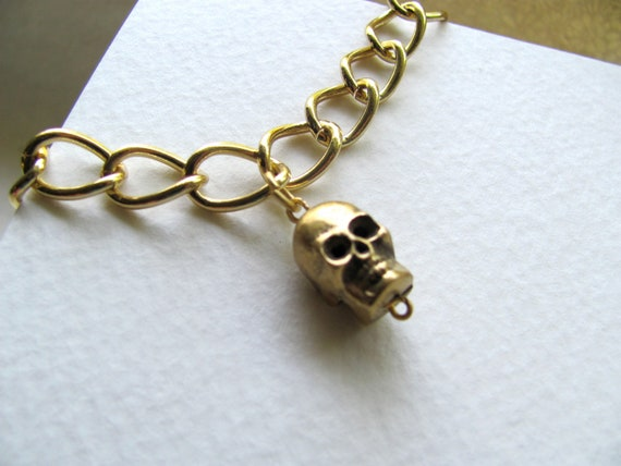 Gold skull charm bracelet on 14k gold plate chain, thick gold chain