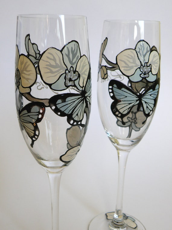 Hand painted Wedding Toasting Flutes Set of 2 Personalized Champagne glasses Light blue Orchid and butterflies
