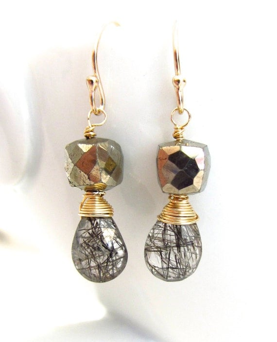 Rutilated quartz earrings golden pyrite wire wrapped 14k gold for Golden rutilated quartz jewelry