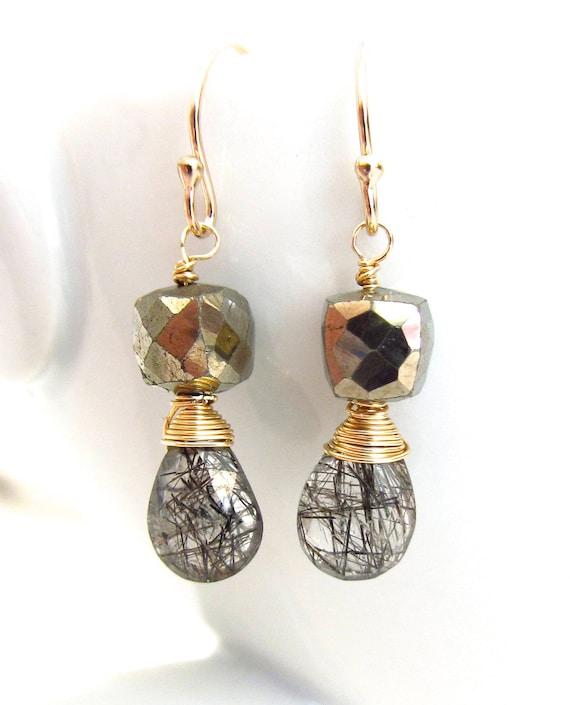 Golden Rutilated Quartz Jewelry Of Rutilated Quartz Earrings Golden Pyrite Wire Wrapped 14k Gold