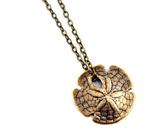 Tiny Sand Dollar Bronze Necklace - Cast from a Real Sand Dollar