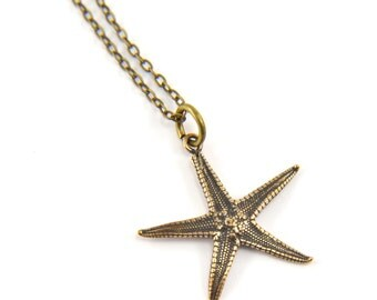 Tiny Starfish Bronze Necklace - Cast from a Real Star Fish