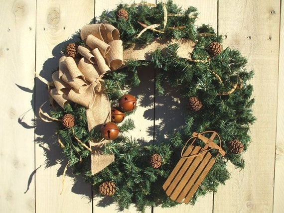 Christmas Wreath With Sled Burlap Bow Rusted Jingle Bells