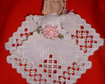 Hardanger Angel Christmas Ornament