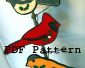 Instant Download PDF Christmas Pattern Felt Chickadee Goldfinch Cardinal Wild Bird Decor Ornaments Winter Hand Sewing and Fusing 1202