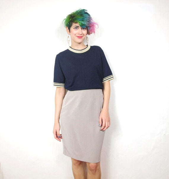 Nude Taupe High Waist Silk Pencil Skirt (XS/S)