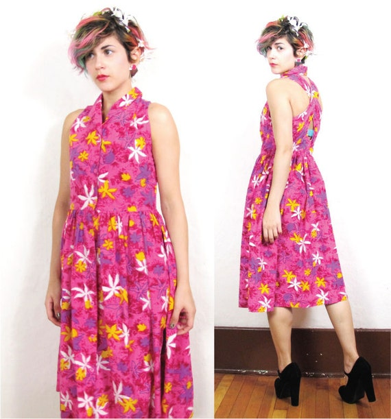 80s Pink Floral Sun Dress with Criss Cross Back (S/M)