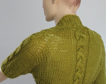 Olive Hand knited Cable Shrug Bolero , Crop Sweater Cardigan  Spring Fashion