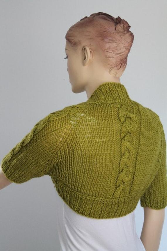 Olive Hand knited Cable Shrug Bolero , Crop Sweater Cardigan  Spring Fashion