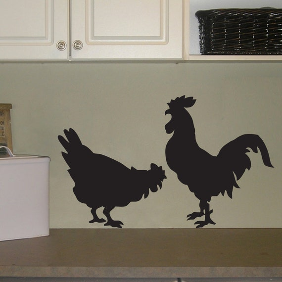 Rooster and Chicken Wall Decal - Country Decal - Chicken Sticker - Rooster Decal - Kitchen Decor