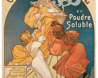 Hand-cut wooden jigsaw puzzle. WOMAN CHILDREN CHOCOLATE. Art nouveau. Vintage advertisement. Wood, collectible. Bella Puzzles.