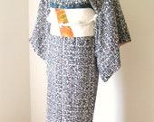 Custom listing for Mimi :) Vintage KIMONO casual silk floral motif with OBI size M ready to ship