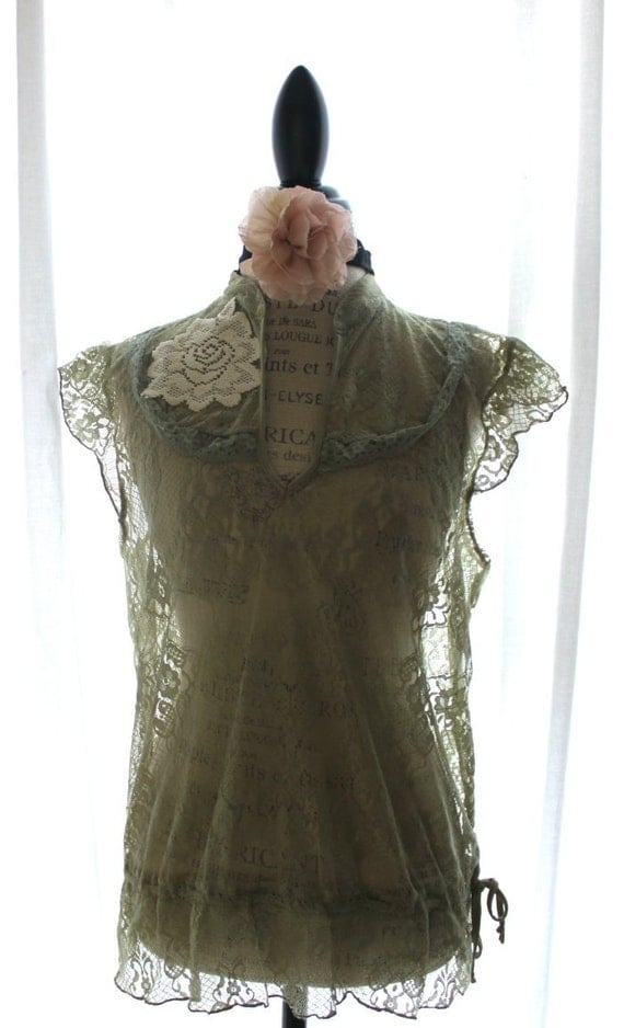 Romantic Lace Top Shabby Moss Green Rustic By