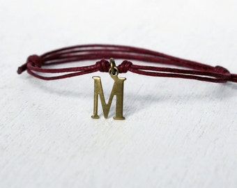 Initial Letter Bracelet, Initial Anklet, Personalized bracelet, Personalized anklet (26 letters and many colors to choose)