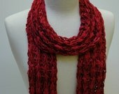 Cotton Scarf- Hand -Knit- Wine/ Deep Red