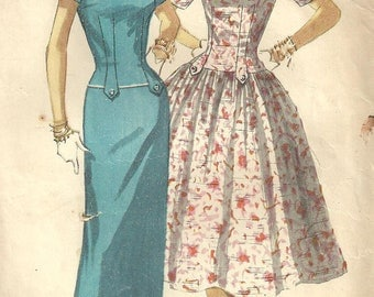 Simplicity 1445 Vintage 50s Sewing Pattern // Dress Size 14 Bust 32
