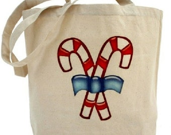 Christmas Tote Bag - Cotton Canvas Tote Bag - Candy Cane - Gift Bag