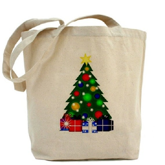 Canvas tote bag christmas tree gift bags