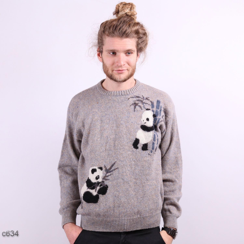 Knitting Pattern Panda Jumper : Mens Panda Sweater / OOAK Novelty Print Sweater / sz Medium