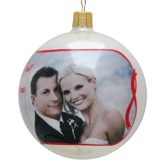 personalized full photo ball ornaments red ribbon by eugenie2