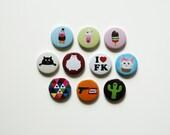 Cat badge pin button stocking stuffer/filler, colorful kawaii pinback buttons, sets of 4